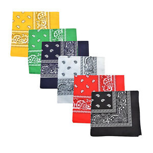 Mechaly Polyester Bandana - Paisley and Solid Colors - Pack of 4