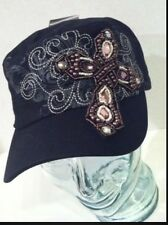 BASEBALL Hat CADET CAP BLACK RHINESTONE CROSS Hat