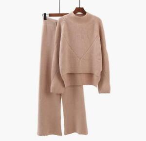 2PCS Womens Knit Sweater Top+Wide Leg Pants Suits Thicken Winter Warm Outwears