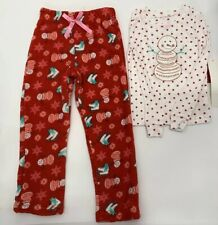 Christmas Snowman Pajamas  Girl Toddler Red White Size 4