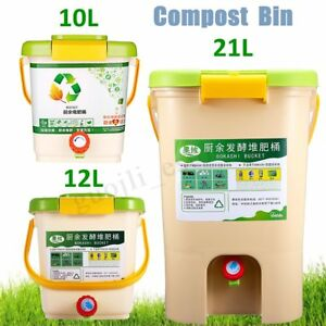10-21L Recycle Composter Aerated Compost Bin Bokashi Bucket Kitchen Food   L7