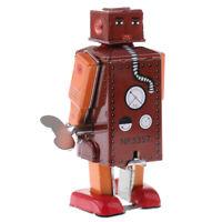 Classic Wind Up Walking Robot Tin Toy Mechanical Clockwork Desktop Decor Red