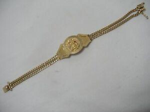 14K Yellow Gold Ruby Saint Barbara Double Solid Miami Chain Bracelet Mens 29.8gr