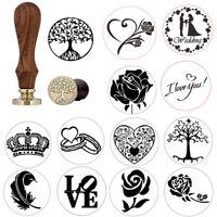Retro Wax Seal Stamp Vintage Retro Brass Head Wooden Handle Wax Stamp
