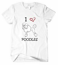 I LOVE HEART POODLES DOGS Unisex Adult T-Shirt Tee Top