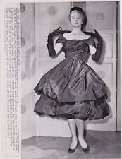 YVES ST. LAURENT Design for House of Dior MODELED *RARE VINTAGE 1959 press photo