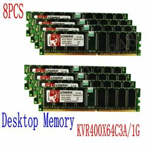 8PCS 1GB DDR PC3200 400Mhz 184pin DIMM RAM kit Desktop Memory KVR400X64C3A/1G