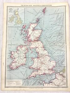 1909 Antique Map of The British Isles UK Industrial Communications George Philip