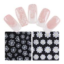 White Flower 3D Nail Sticker Floral Pattern Adhesive Transfer Sticker