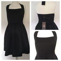 Isassy Black Halterneck Xmas Party/ Club Skater Dress Size M (approx UK 12) BNWT