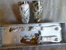 Set of camo champagne flutes and wedding serving set in snow camo