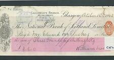 wbc. - CHEQUE - USED - CH32 - 1900's -  NAT BANK OF SCOTLAND  GLASGOW - company