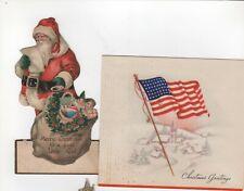 3 VINTAGE CHRISTMAS GREETING CARDS - SANTA, STOCKINGS, FLAG