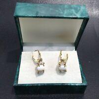 SUZANNE SOMERS Opal Stone w/ CZ Gold Tone Dangle Earrings In Sterling Silver EUC