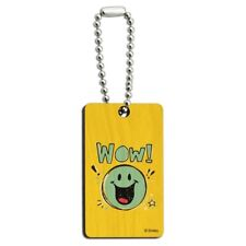 Wow Smiley Face Officially Licensed Wood Wooden Rectangle Keychain Key Ring