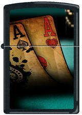 Zippo Double Aces Black Matte Windproof Lighter NEW Poker Pocket Rockets RARE