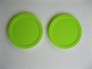 2 NEW AIR HOCKEY Puck Fluorescent Green DYNAMO Set 3-1/4""