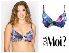 Pour Moi Tiger Lily 16002 Underwired Plunge Non Padded Bikini Top Swimwear 34 E
