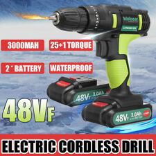 Portable 48VF Cordless Drill Li-Ion Electric Driver Kit Repair Tool w/ 2 Battery