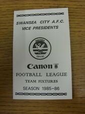 "1985/1986 Fixture List: Swansea City - Official Fold Out Card ""Vice Presidents"""
