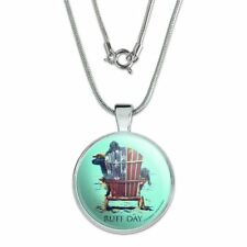 """Ruff Day Labrador Lab Dogs Rough 1"""" Pendant with Sterling Silver Plated Chain"""