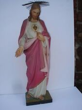 19th Century Italian  Hand Carved Figure Of Jesus--The Sacred Heart