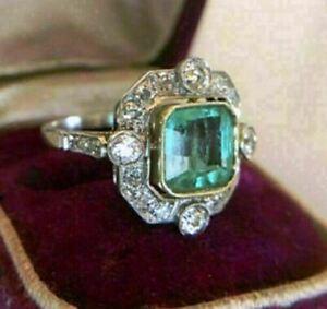 Art Deco Engagement Ring 2.60 Ct Asscher Cut Green Diamond 14K White Gold Finish