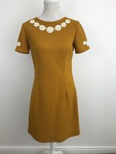 Unique Vintage 70's Dress Mustard Flowers Hippy Boutique Size UK 10 12