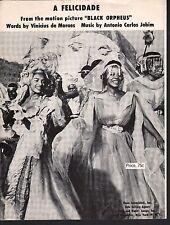 A Felicidade 1959 Black Orpheus  Sheet Music