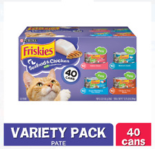 New listing (40 Pack) Friskies Pate Seafood & Chicken Wet Cat Food Variety Pack, 5.5 oz Cans
