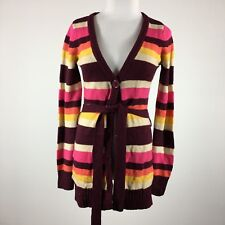 One Step Up Womens Cardigan Sweater M Striped Retro Belted 6 Button
