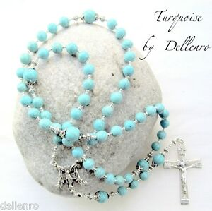 ✫TURQUOISE✫ HANDCRAFTED GEMSTONE ROSARY (boxed)