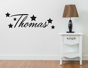 PERSONALISED NAME STARS WALL ART STICKER DECAL BOYS BEDROOM NURSERY HOME DECOR