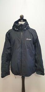 MENS BERGHAUS GORE-TEX BLACK FULL ZIP LIGHTWEIGHT HOODED RAIN COAT UK L EU 52