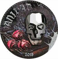 2018 Equatorial Guinea 1000 Francos  Crystal Skull Vanity 1 oz Proof Silver Coin