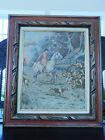 French Tapestry Hunting Scene Fox and Hounds Framed
