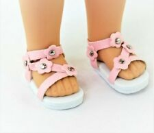 "Pink Flower Sandals Fits 14.5"" Wellie Wisher American Girl Doll Shoes"