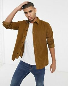 Organic Cotton Tan Selected Homme Cord Shirt Overshirt, Size Medium, RRP £48