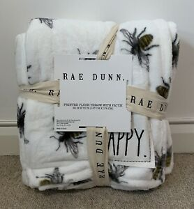 BNWT RAE DUNN Throw White Plush Bee Blanket with 'BEE HAPPY' Homesense TK MAXX