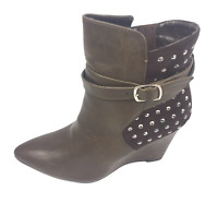 Womens Ladies Coffee Faux Leather High Wedge Heel Shoes Ankle Boots Size 4 New
