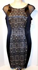 NEW $110 Tag CHAYA Size 16 Black Sheath Dress Lace on Satin Backing Fully Lined