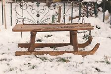 Vintage Wooden Sled Handmade Childrens Snow Sled Vintage Winter Sports Decor