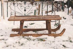 Vintage Wooden Sled Handmade Childrens Snow Sled Vintage Winter Sports Decor