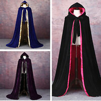 Cloak Velvet Hooded Cape Medieval Renaissance Costume LARP Halloween Fancy Dress