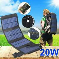 20W USB Foldable Solar Panel Power Bank Outdoor Camping Hiking Battery Charger