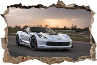 Chevrolet Corvette Carbon65 Sports Car 3D Smashed Wall Sticker Decal Art J889