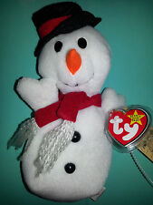 TY Original Beanie Baby SNOWBALL THE SNOWMAN 1996 CHRISTMAS Retired PVC Tag MWMT