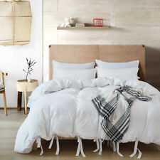 Solid Ties Washed Cotton Duvet Cover Sets Bed Pillowcase Twin/Queen/King Size
