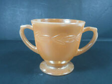VINTAGE FIRE KING WARE PEACH LUSTER LAURAL LEAF SUGAR CUP RETRO DECOR GLASSWARE