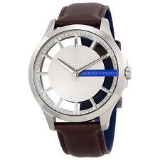 Armani Exchange Men's Dark Brown Leather Strap Watch 46mm AX2187